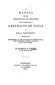 Cover of: A Manual Upon the Searching of Records and the Preparation of Abstracts of ... | Maskell E. Curwen