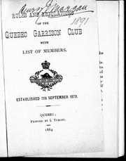 Cover of: Rules and regulations of the Quebec Garrison Club |