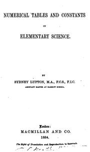 Cover of: Numerical Tables and Constants in Elementary Science
