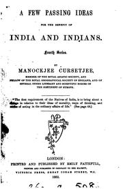 Cover of: A few passing ideas for the benefit of India and Indians