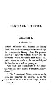Cover of: Bentinck's tutor, one of the family, by the author of 'Lost sir Massingberd'