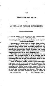 Cover of: THE REGISTER OF ARTS AND JOURNAL OF PATENT INVENTIONS