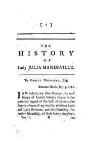 Cover of: The history of lady Julia Mandeville, by the translator of lady Catesby's letters
