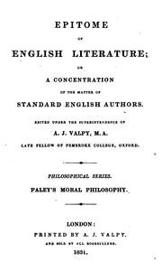 Cover of: Epitome of English literature; or, A concentration of the matter of standard English authors, ed ..
