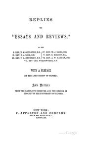 "Cover of: Replies to ""Essays and Reviews."" .."