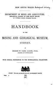 Cover of: Handbook to the Mining and Geological Museum, Sydney