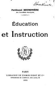 Cover of: Éducation et instruction