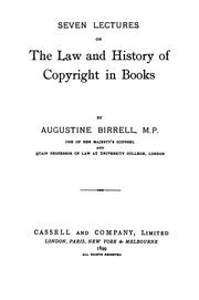 Cover of: Seven lectures on the law and history of copyright in books