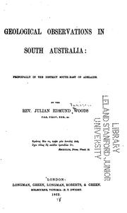 Cover of: Geological Observations in South Australia: Principally in the District South-east of Adelaide
