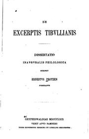Cover of: De excerptis Tibvllianis..