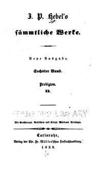 Cover of: J. P. Hebel's sämmtliche Werke
