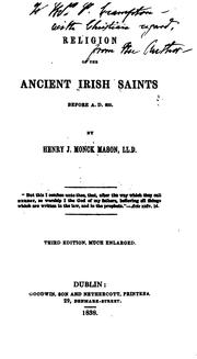 Cover of: Religion of the Ancient Irish Saints: Before A.D. 600