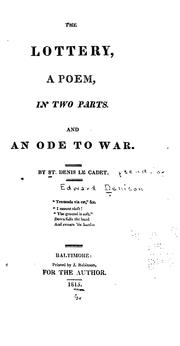 Cover of: The Lottery: And An Ode to War