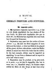 Cover of: A Manual of German Prefixes and Suffixes