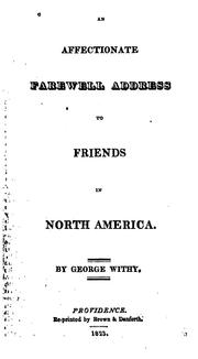 Cover of: An Affectionate Farewell Address to Friends in North America. ..