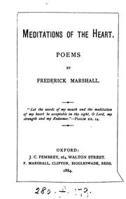 Cover of: Meditations of the heart, poems. [2 issues]. | Frederick Marshall