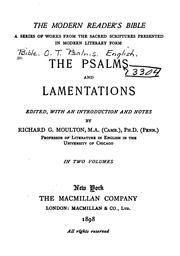 Cover of: The Psalms and Lamentations | Richard Green Moulton