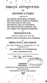 Cover of: Indian antiquities: or, Dissertations, relative to the ancient geographic ... | Thomas Maurice
