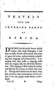 Cover of: Travels into the interior parts of Africa: By the Way of the Cape of Good ..