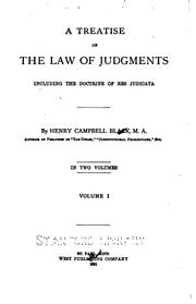 Cover of: A Treatise on the Law of Judgments: Including the Doctrine of Res Judicata | Henry Campbell Black