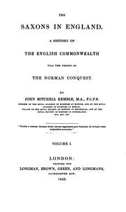 Cover of: The Saxons in England: A History of the English Commonwealth Till the Period of the Norman Conquest
