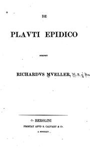 Cover of: De Plauti Epidico..