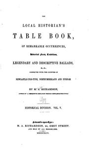Cover of: The Local Historian's Table Book: Of Remarkable Occurences, Historical Facts ..