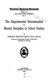 Cover of: The Experimental Determination of Mental Discipline in School Studies