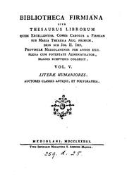 Cover of: Bibliotheca Firmiana. 5 voll. [and] Appendice