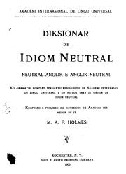 Cover of: Dictionary of the Neutral Language (idiom Neutral) Neutral-English and English-neutral: With a ..