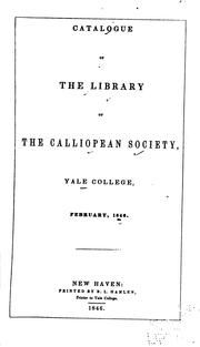 Cover of: Catalogue of the Library of the Linonian Society, Yale College, November, 1846