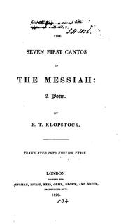 Cover of: The Messiah, [abridged] tr. into Engl. verse [by F.A. Head]