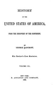 Cover of: History of the United States of America, from the Discovery of the Continent [to 1789]
