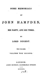 Some memorials of John Hampden, his party and his times