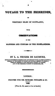 Cover of: A Voyage to the Hebrides, Or Western Isles of Scotland;: With Observations on the Manners and ..