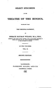 Cover of: Select specimens of the theatre of the Hindus, tr. by H.H. Wilson