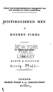 Cover of: Distinguished Men of Modern Times | Society for the Diffusion of Useful Knowledge (Great Britain ).