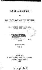 Cover of: Count Arensberg; or, The days of Martin Luther | Joseph Sortain