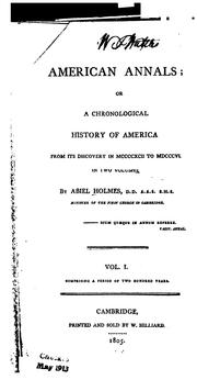 Cover of: American annals, or, A chronological history of America, from its discovery in MCCCCXCII to MDCCCVI