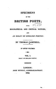 Specimens of the British Poets: With Biographical and Critical Notices, and An Essay on English ...