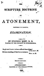 Cover of: The Scripture doctrine of atonement, proposed to careful examination