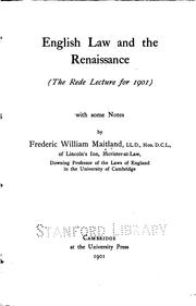 Cover of: English Law and the Renaissance: With Some Notes