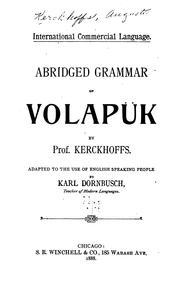 Cover of: International Commercial Language: Abridged Grammar of Volapük