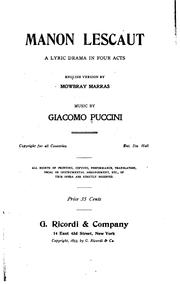 Cover of: Manon Lescaut: A Lyric Drama in Four Acts