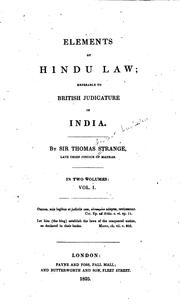 Cover of: Elements of Hindu Law: Referable to British Judicature in India