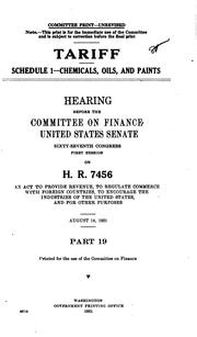 Cover of: Tariff ... Hearing[s] ... on H.R. 7456 ..