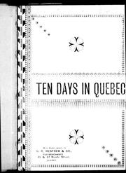 Cover of: Ten days in Quebec |