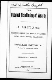 Cover of: The unequal distribution of wealth