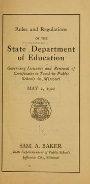 Cover of: Rules and regulations of the state Department of education | Missouri. Dept. of education