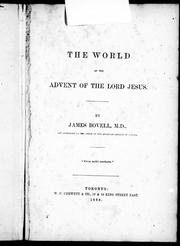 Cover of: The world at the advent of the Lord Jesus |